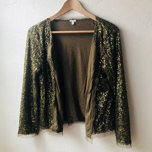 Jcrew olive green sequin cardigan